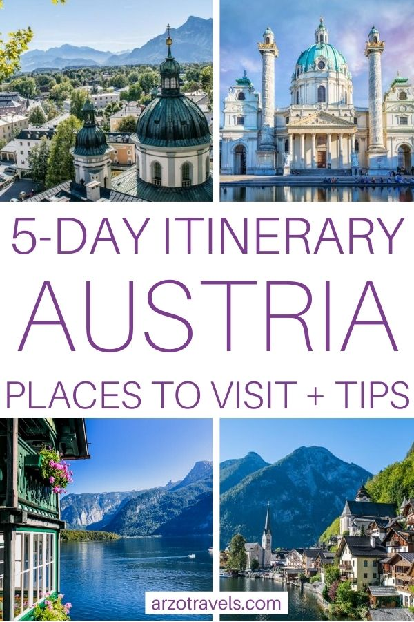 5-day Austria itinerary pin for Pinterest, places to visit and more tips for 5 days in Austria