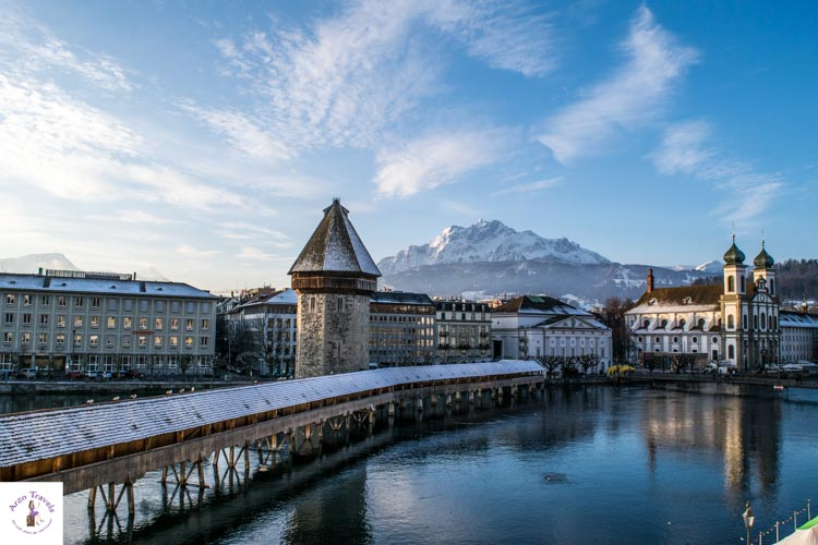 Lucerne with the Chapel Bridge, Jesuit Church and Mount Pilatus