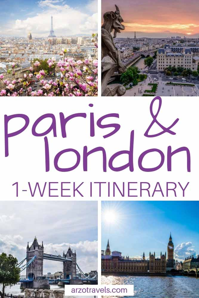 Paris & London, 1 week itinerary for Paris and France - Pin me for Pinterest
