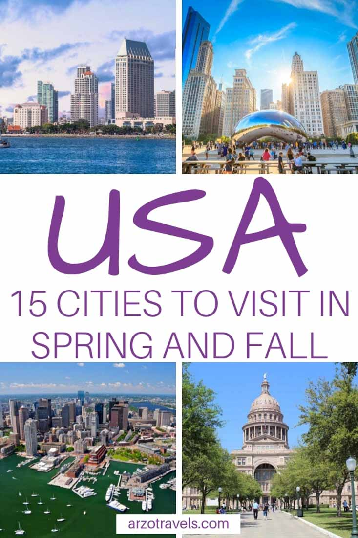 USA, best cities to visit in spring and fall.