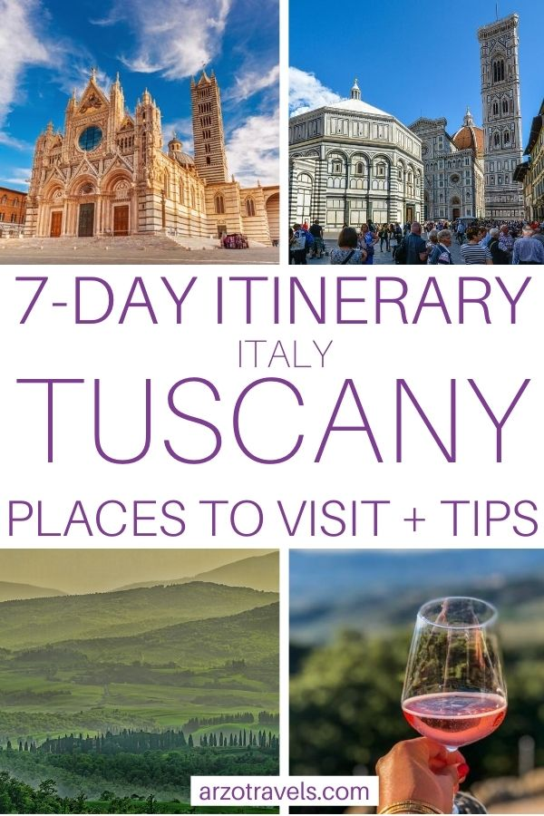 7-day Tuscany itinerary pin for Pinterest. places to visit and more tips for 7 days in Tuscany, Italy