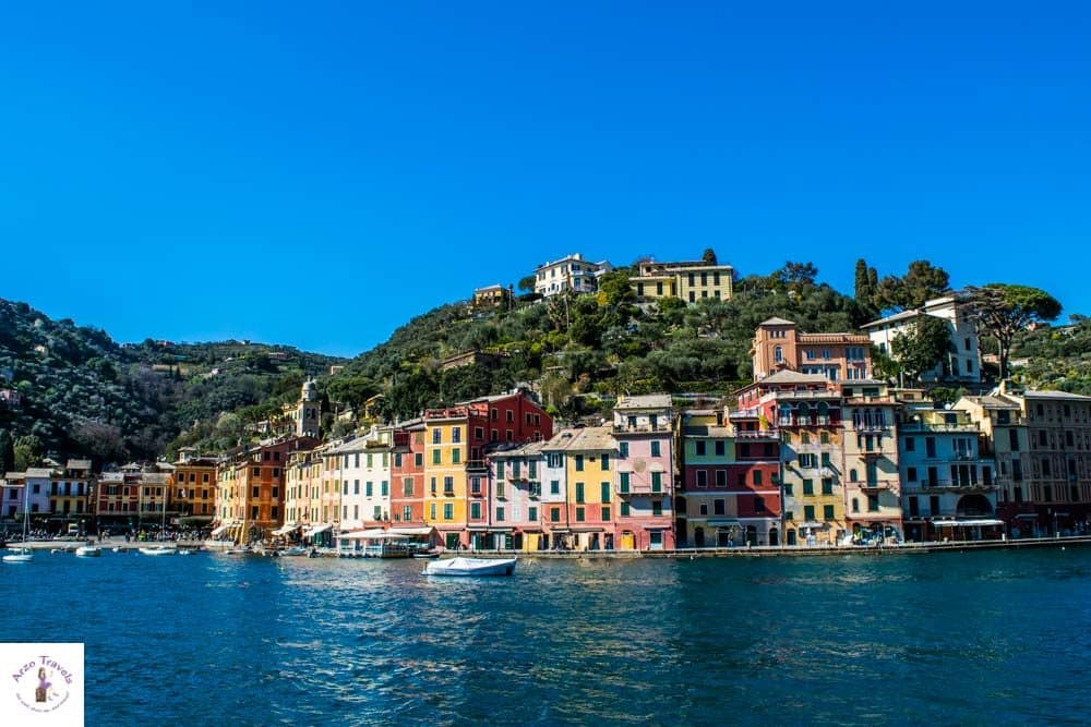 Portofino Harbor approahing by boat, a good day trip from CInque Terre
