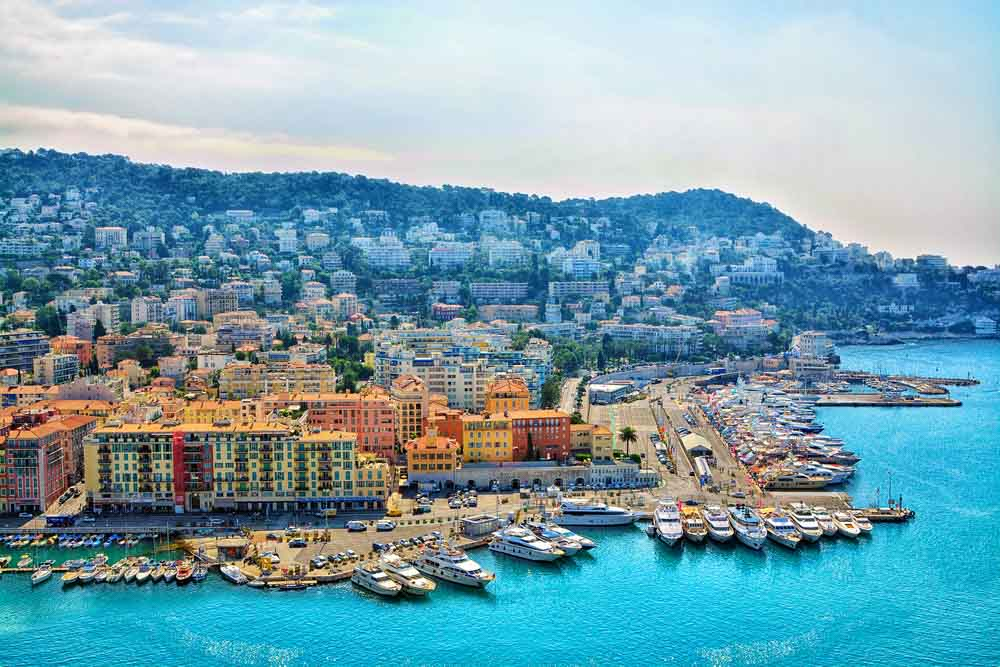 Aerial view city of Nice itinerary