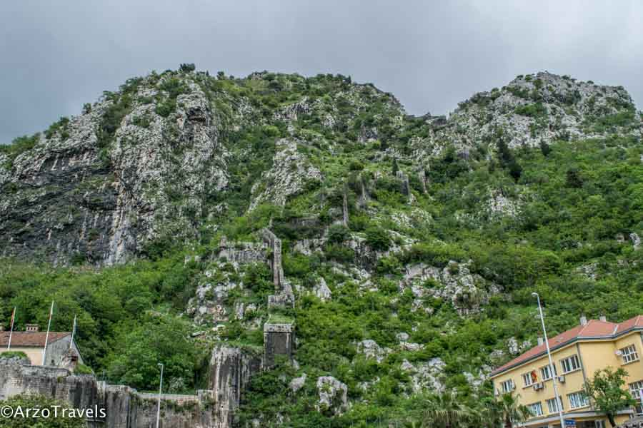 Kotor fortress from outside the old town