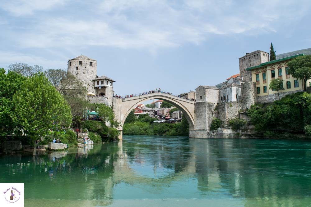 Old Bridge seen from the beach in Mostar