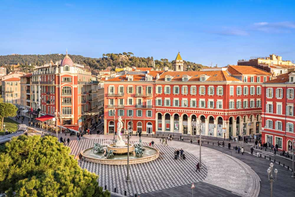 Place Massena square with red buildings and fountain in Nice in 3 days