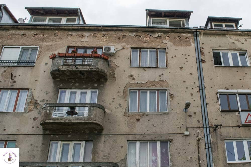 Sarejevo houses near Sniper´s Alley with bullet holes