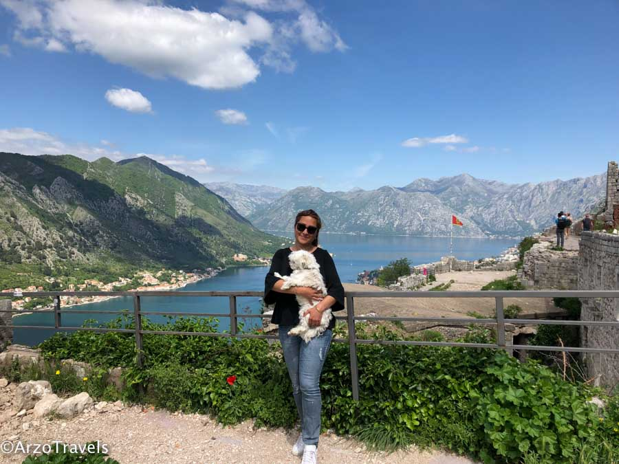 St. Johns Fortress in Kotor. Traveling in Kotor with a dog