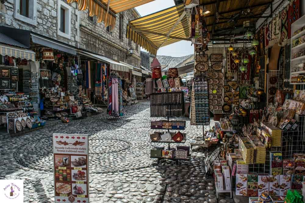Street with shops in Mostar
