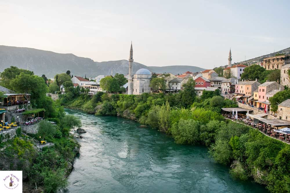 View from old bridge, one of the most Instagrammable places in Mostar