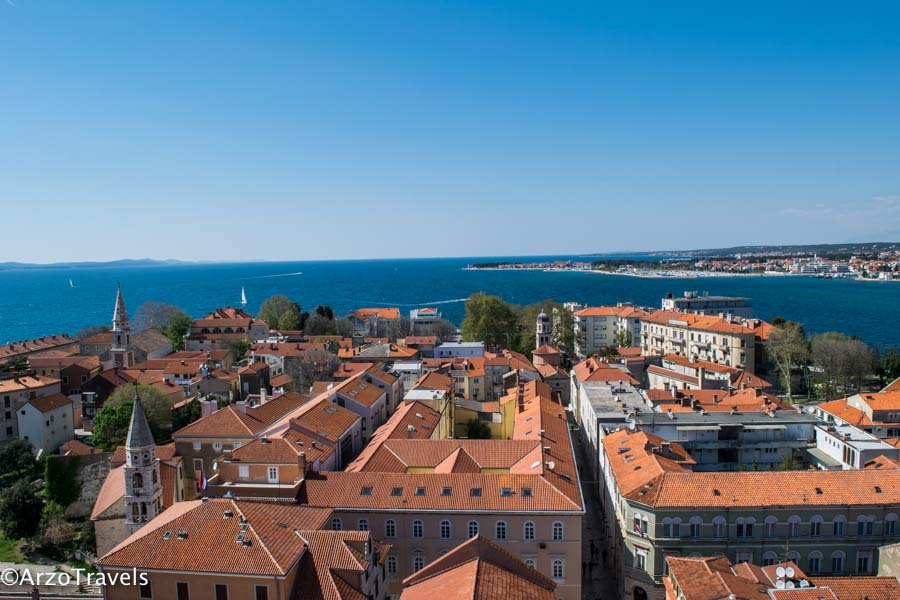 Zadar view from the Bell Tower, one of the best places to visit in Croatia