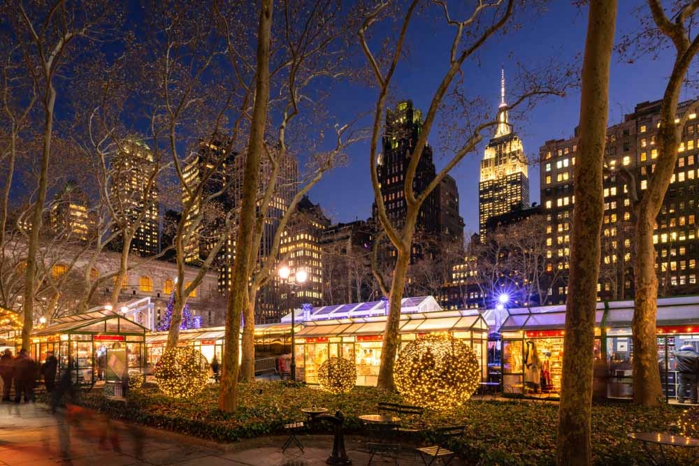 Bryant Park Winter Village (Christmas Market) is one of teh top things to do in NY in winter