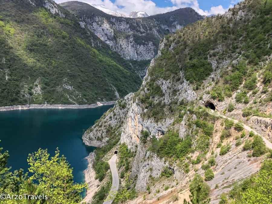 Driving around Piva Lake in Montenegro_