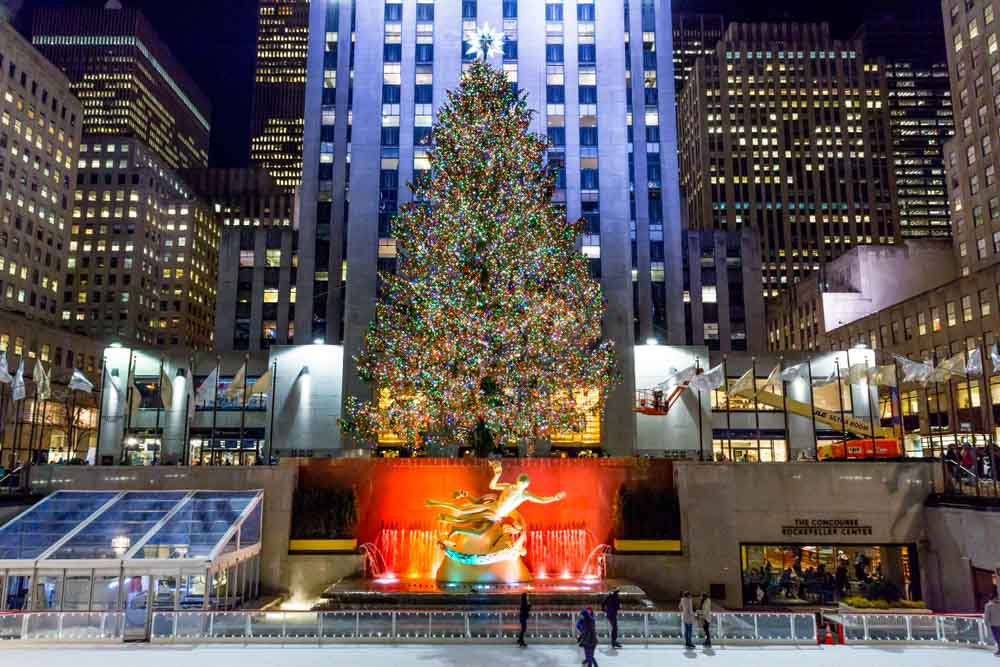 Rockefeller Plaza with a Christmas tree