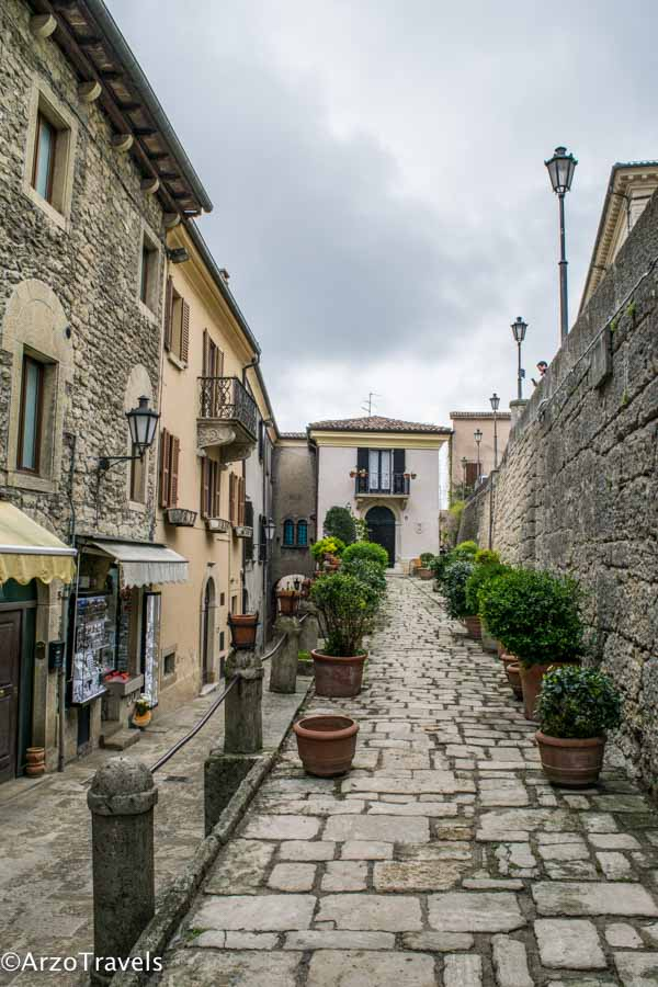 Street in San Marino, , strolling the old town is one of the best things to do