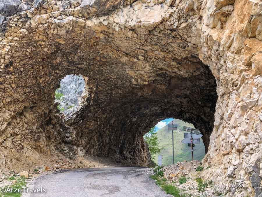 Tunnels when road tripping Montenegro Piva Lake in Montenegro_