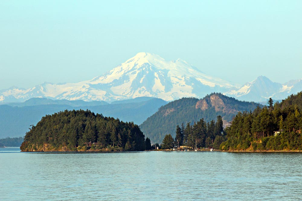 Mount Baker from the San Juan Islands is a good day trip from Seattle