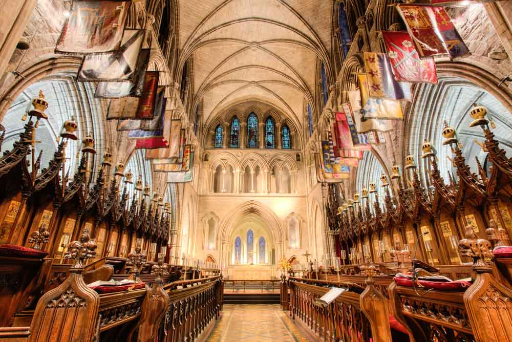 Interior of St. Patrick's cathedral is one of the must-see on any Dublin itinerary
