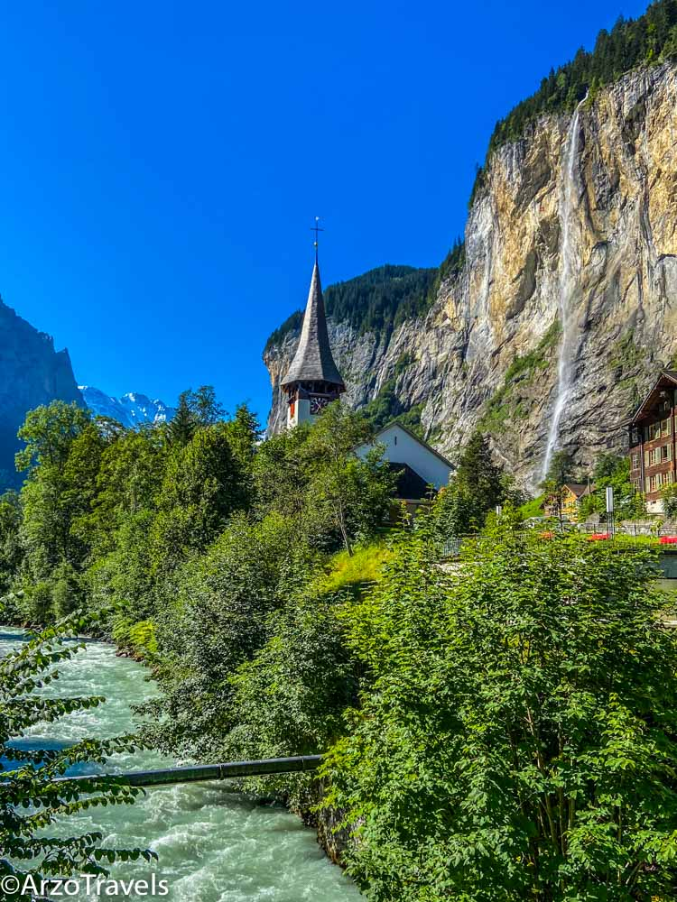 Lauterbrunnen Staubbach waterfall a top activity in Interlaken with Arzo Travels