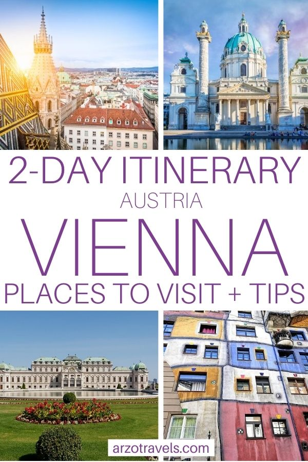 2-day Vienna itinerary pin for Pinterest. places to visit and more tips for 2 days in Vienna