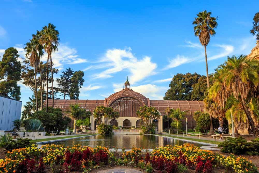 Balboa park Botanical building and pond San Diego, California USA