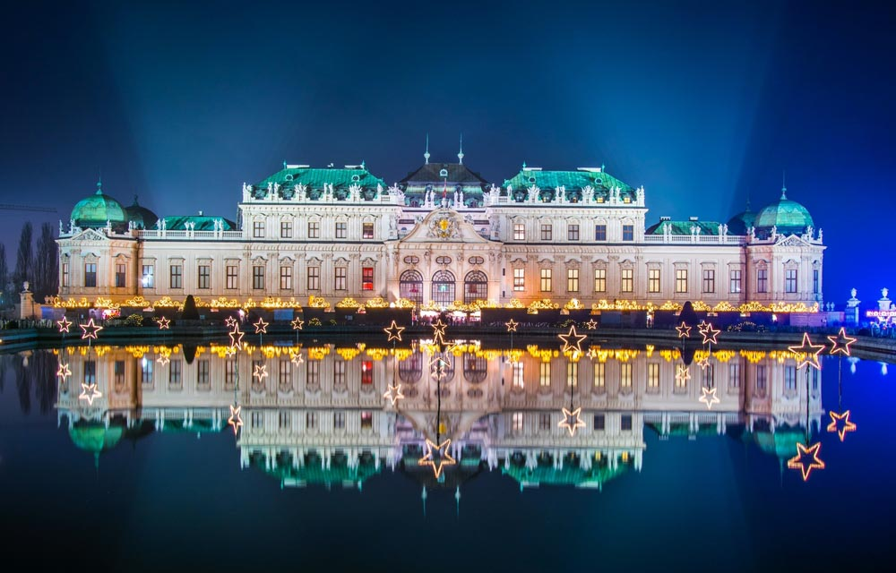 Belvedere Palace in vienna during christmas time