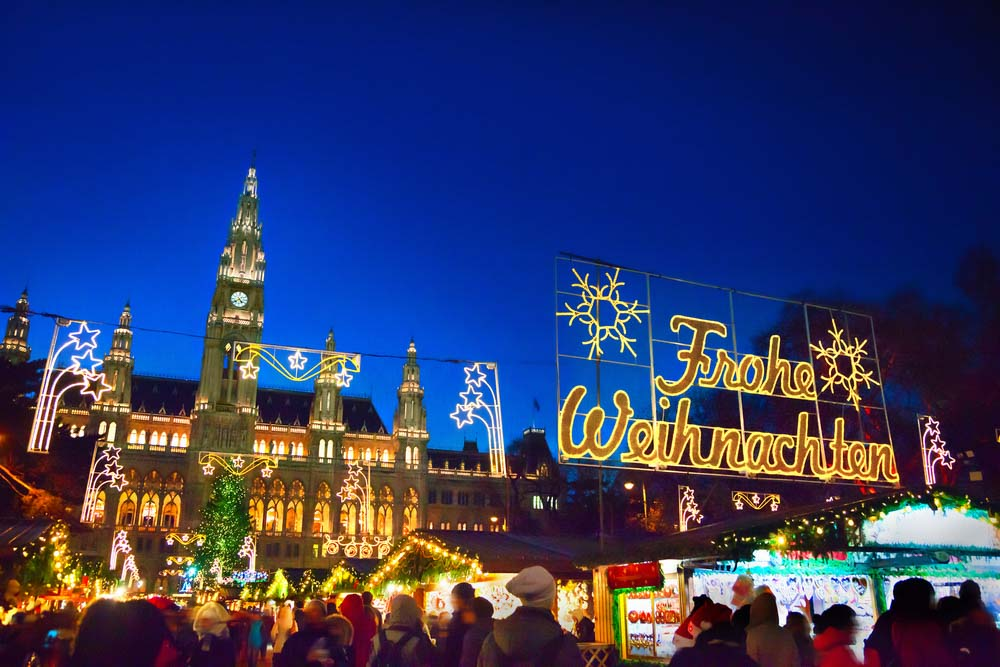 Christmas market in Vienna most beautiful place in winter