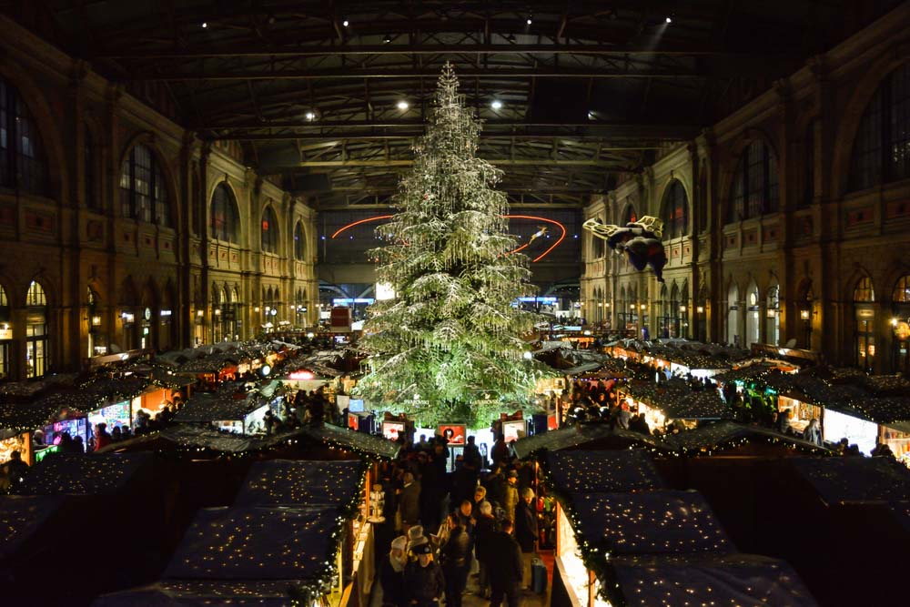 Christmas market on Zurich main train station is one of the best places to visit in December