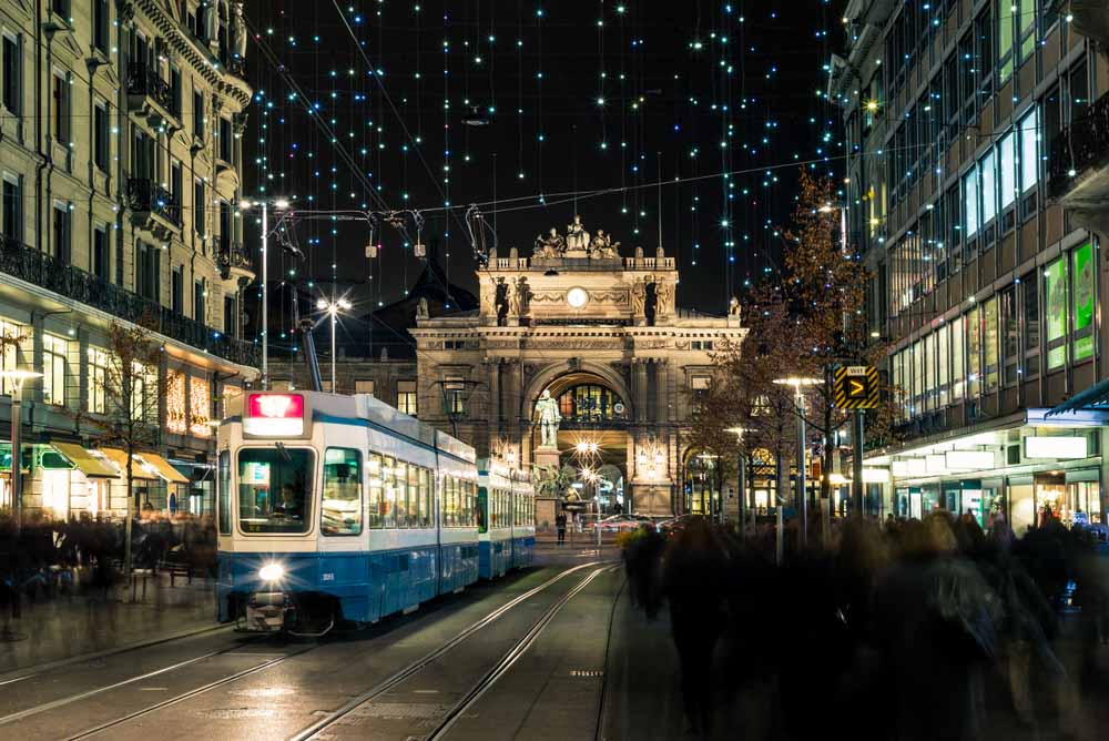 Christmas shopping in the decorated Zurich Bahnhofstrasse