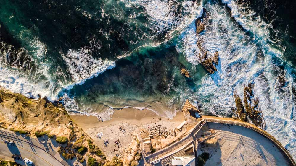 Drone view of the Children's Pool in La Jolla San Diego is one of the best things to do in 3 days in San Diego