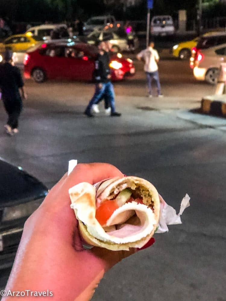 Falafel sandwich in Amman