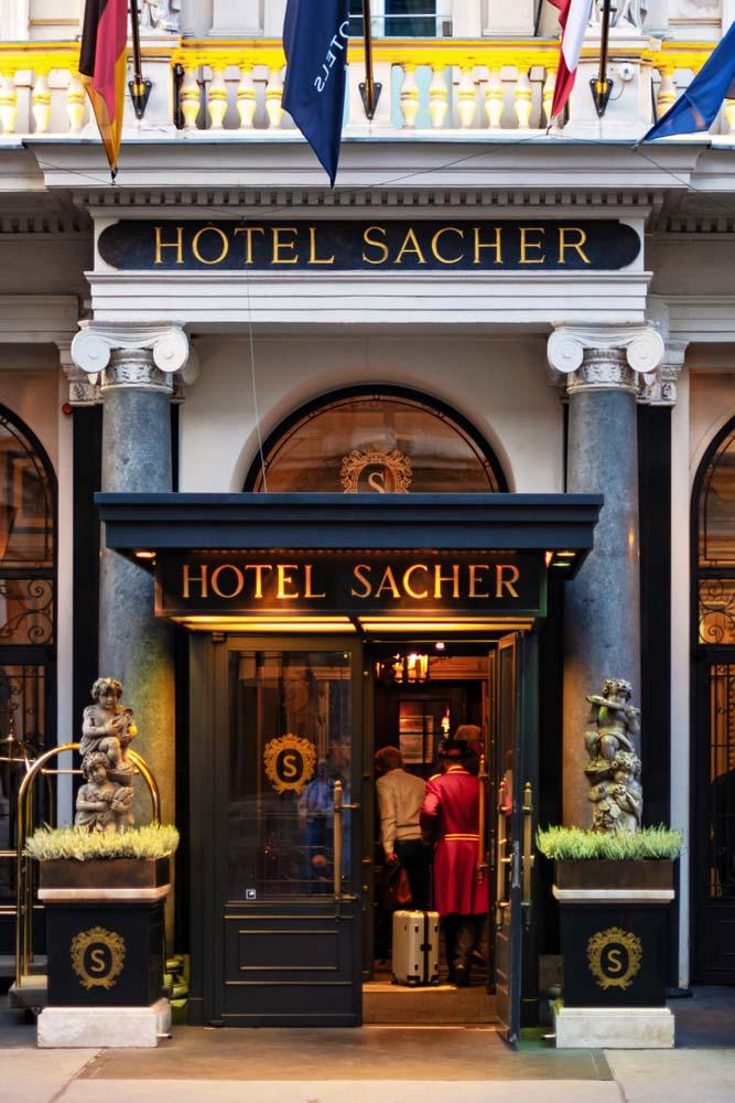Hotel Sacher in Vienna, famous Sacher cake._
