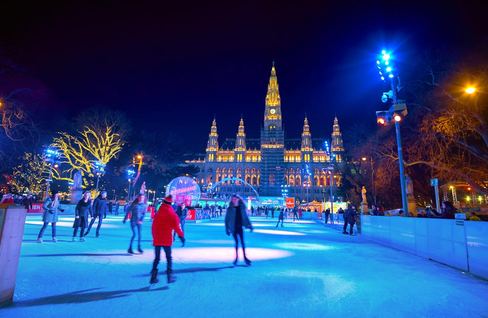 Ice skating rink in front Town Hall Vienna in winter