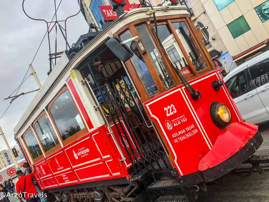 Iconic red tram in Istanbul