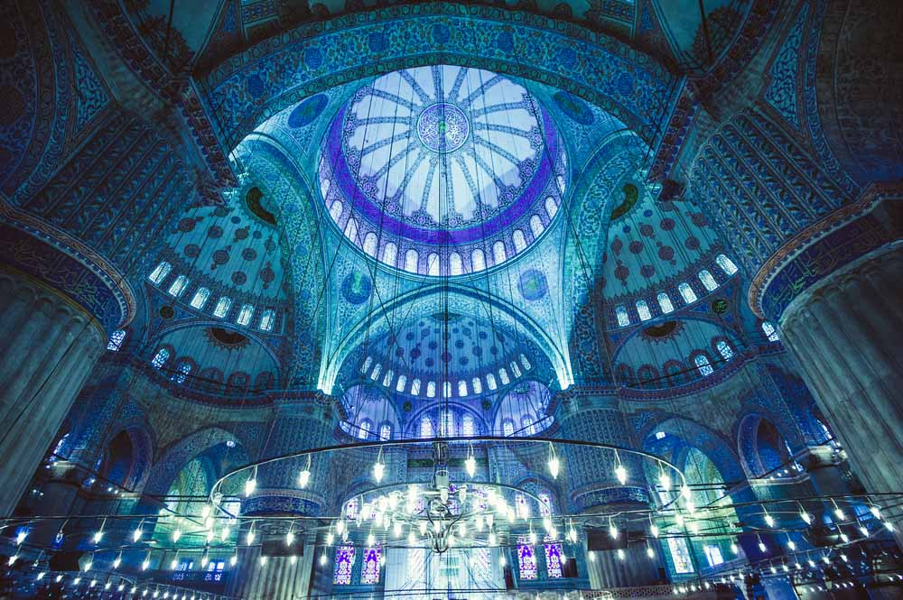 Interior of the Blue Mosque, Istanbul is a must-see in 2 days