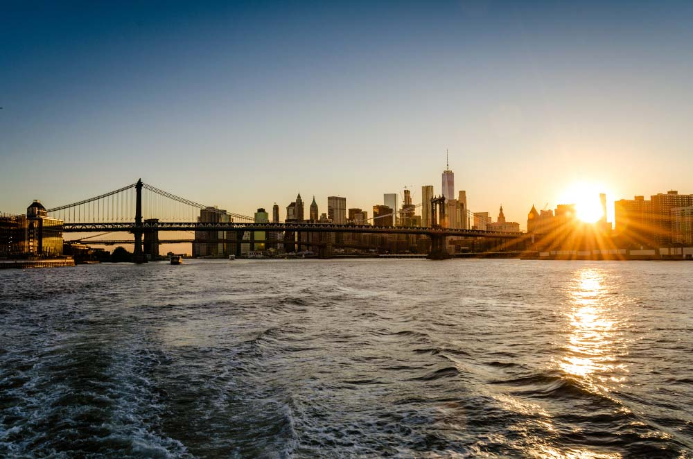 Lower Manhattan skyline at sunset, view from cruise ship