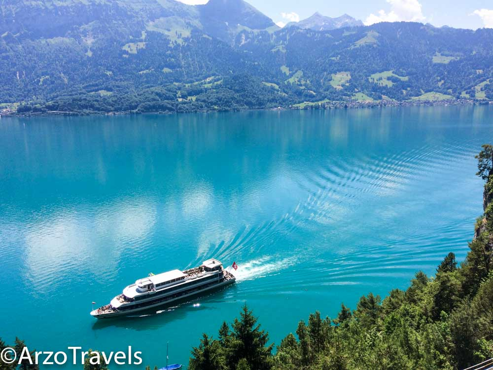 St. Beatus Caves in Switzerland, Arzo Travels boat arrival