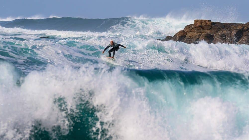 Surfing in Hawaii in winter