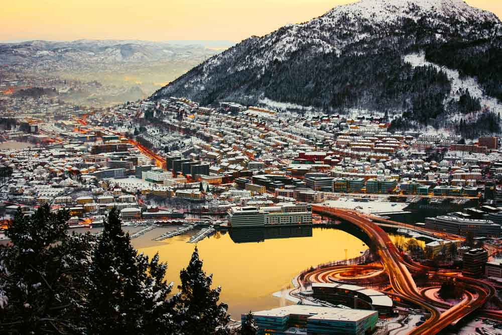 Bergen in the winter with roads , Norway
