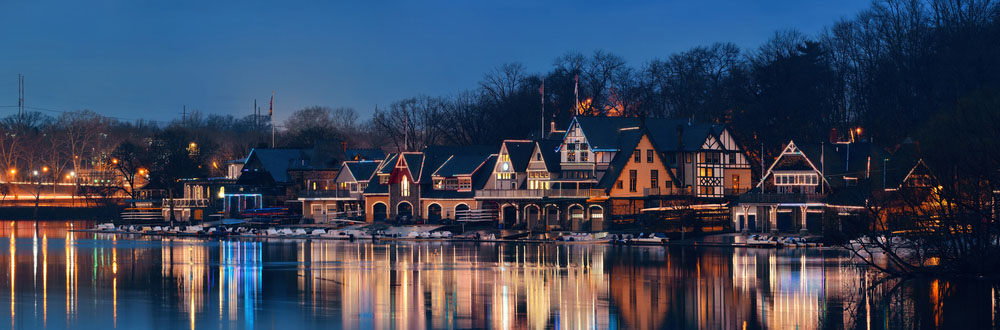 Boathouse Row in Philadelphia as the famous historical landmark