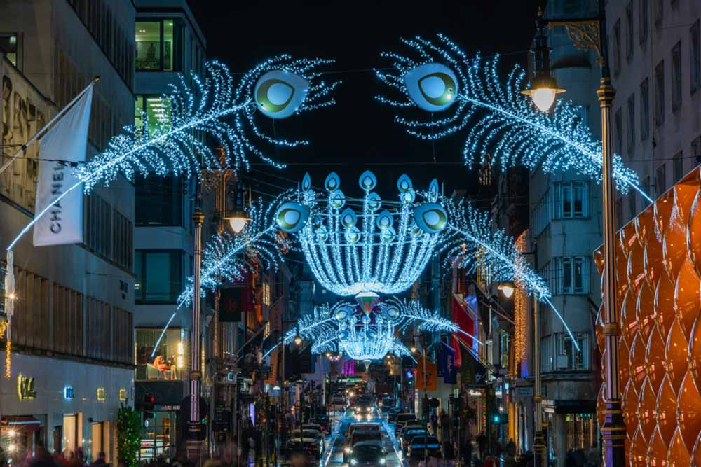 Christmas decorations in New Bond Street is one of the most beautiful places in winter