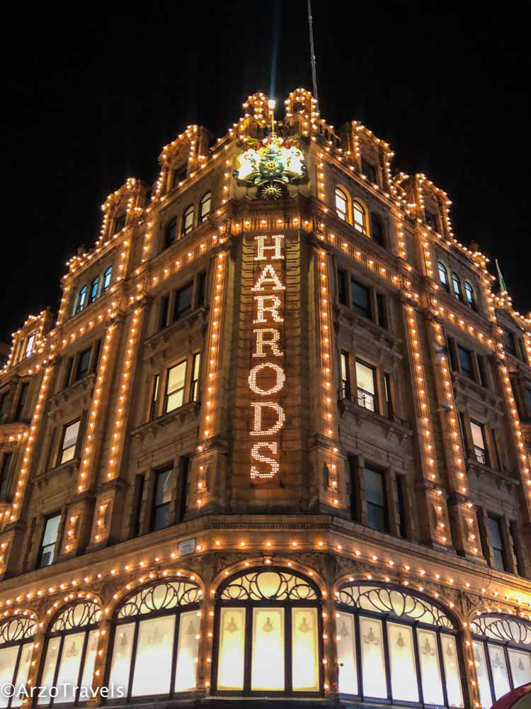 Harrods shopping mall in winter time