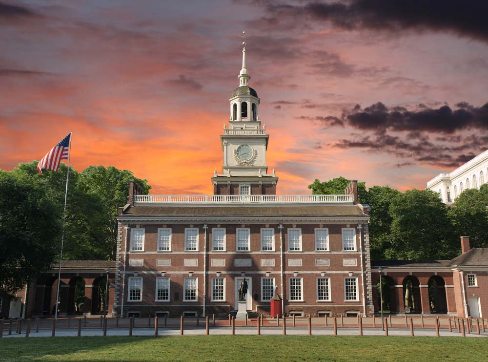 Independence Hall National Historic Park Philadelphia Pennsylvania with sunset