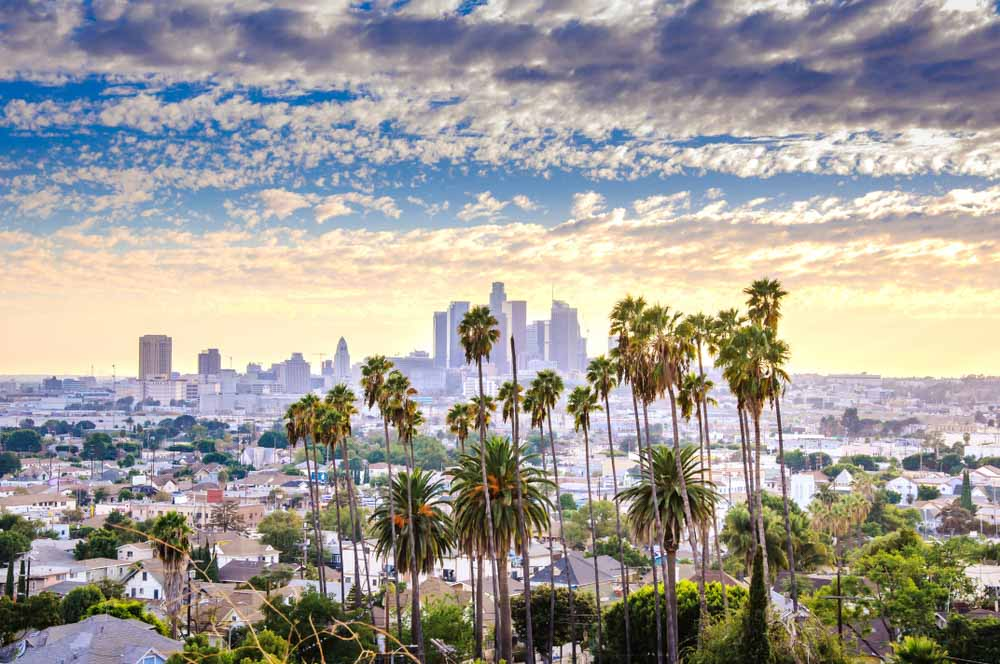 Los Angeles, California, USA downtown cityscape at sunset_