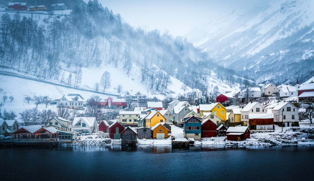 Norwegian fjord, mountain landscape in winter Alesund