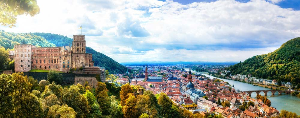 Panoramic view medieval town Heidelberg, Germany, a fun day trip from Strasbourg