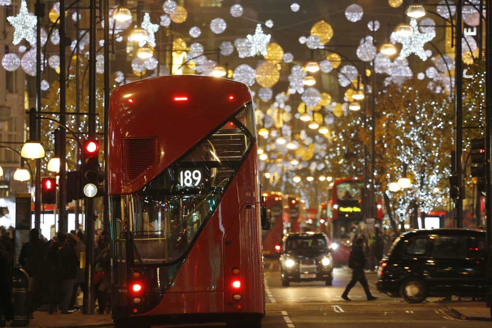 Red bus in London during winter time travel guide