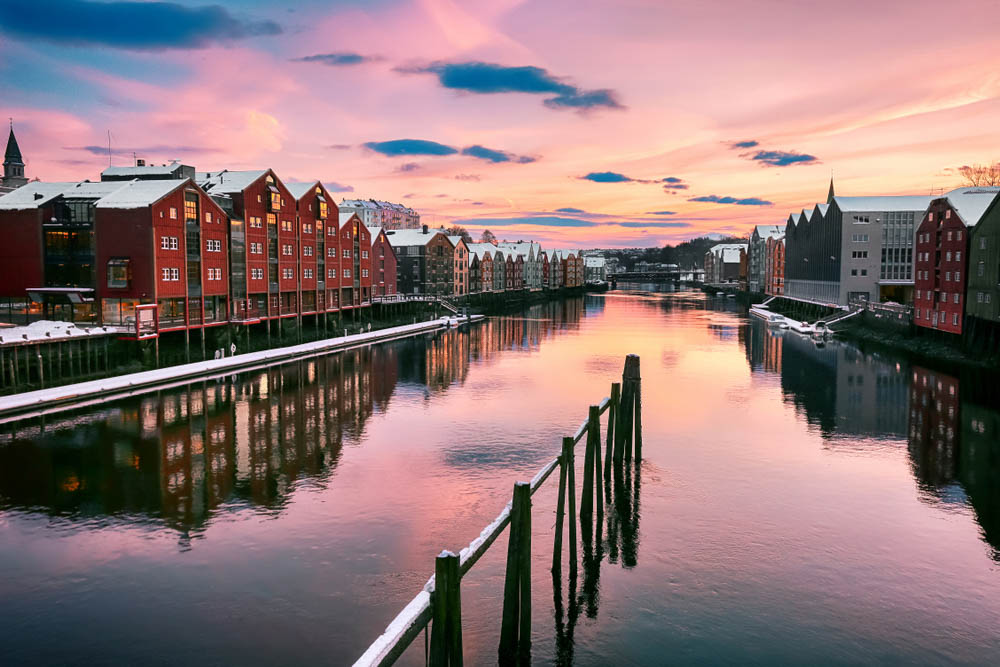 River Nidelva in the city Trondheim in winter