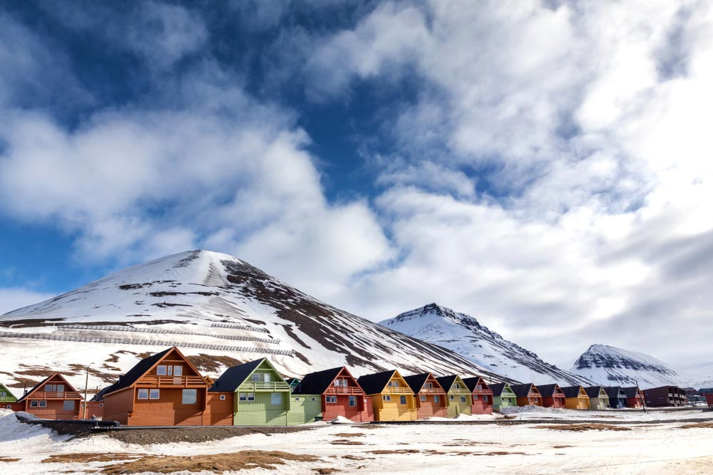 Row of colourful chalet houses in Longyearbyen, Svalbard, most northery town in the world