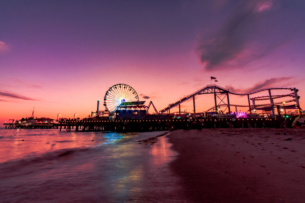 Santa Monica pier at Sunset one of the best places to visit in LA in 3 days